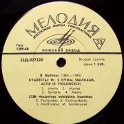 Kvartetas Nr. 6 Dviem Smuikams, Altui Ir Violončelei / Kvartetas Nr. 4 Dviem Smuikams, Altui Ir Violončelei (B. Bartokas / D. Šostakovičius)