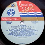 Kvartetas D-dur Op. 20, Nr. 4 / Kvartetas G-dur Op. 74, Nr. 3 (J. Haidnas)